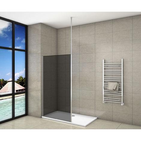 Paroi de douche 100x200cm en 8mm verre anticalcaire et fumé et livré une barre de fixé à plafond