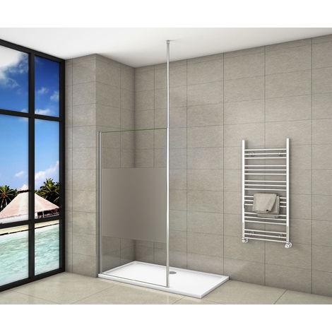 Paroi de douche 90x200cm en 8mm verre anticalcaire et sablé au centre et livré une barre de fixé à plafond
