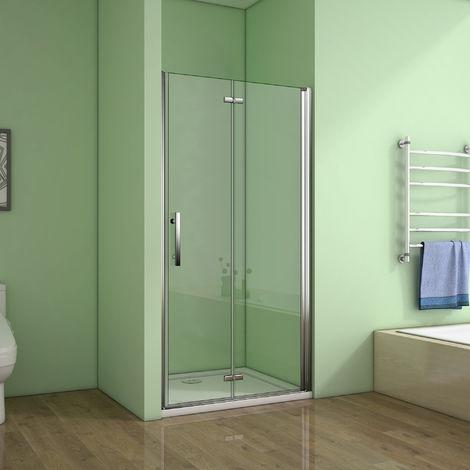 Porte de douche 120x185cm porte de douche pivotante et pliante verre anticalcaire