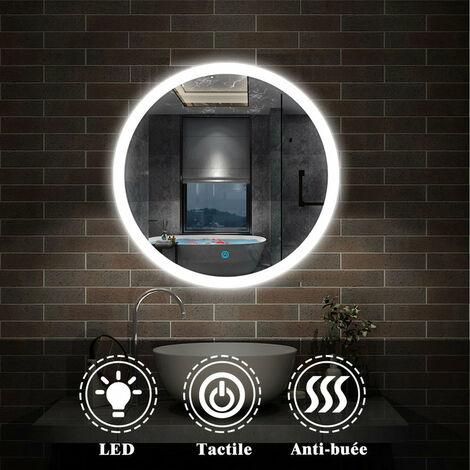 Miroir salle de bain anti-buée rond Mural Lumière Illumination avec éclairage LED