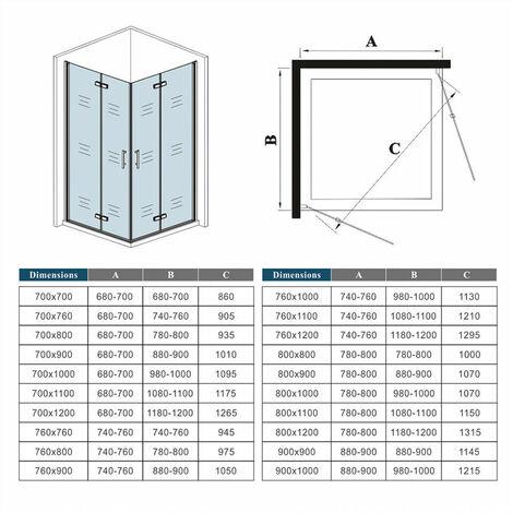 120x70x195cm porte de douche pivotante à charnière avec un receveur correspondant à la dimension de la cabine de douche