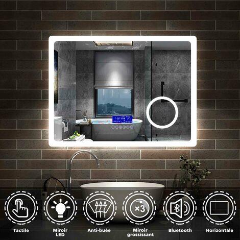 "main image of ""80cmx60cm + Bluetooth+horloge+2couleurs LED réglables +miroir grossissant + antibuée"""