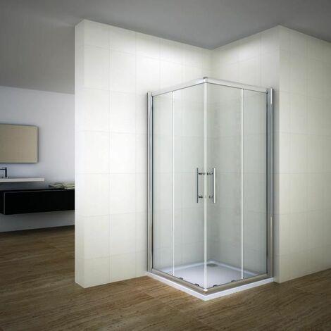 100x100X187cm Cabine de douche accès d'angle, 6mm verre trempé, paroi de douche coulissante, poignée inox,porte de douche transparente