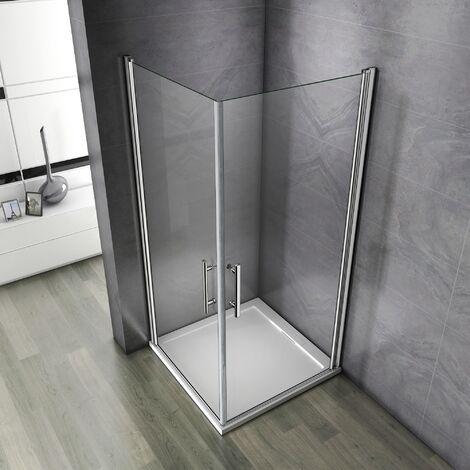 Porte pivotante 100x100x195cm porte de douche paroi de douche cabine de douche verre anticalcaire