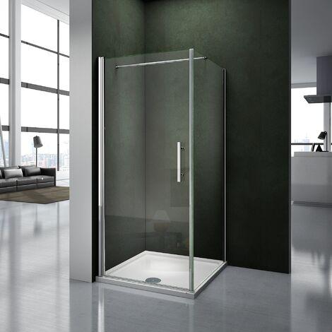 80x90x195cm Porte pivotante porte de douche paroi de douche cabine de douche avec barre de fixation 140cm verre anticalcaire