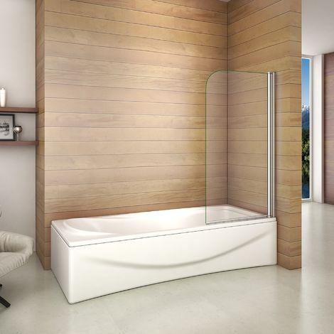 80x140cm Porte Pare baignoire pivotant 180° écran de baignoire 6mm verre trempé anticalcaire