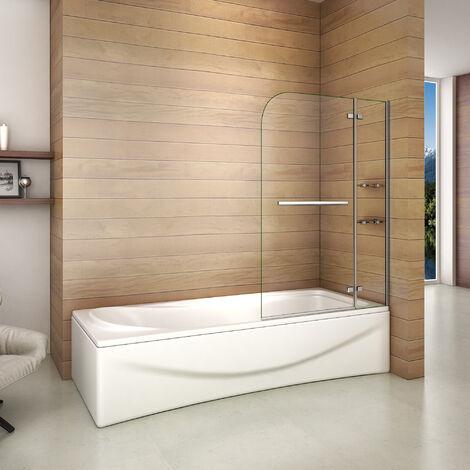 Pare baignoire 100x140cm paroi de douche pivotante à 90 degré securit avec porte-serviette