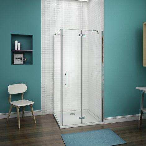 100x70x187cm cabine de douche porte de douche anticalcaire paroi de douche cabine de douche à charniére avec barre de fixation