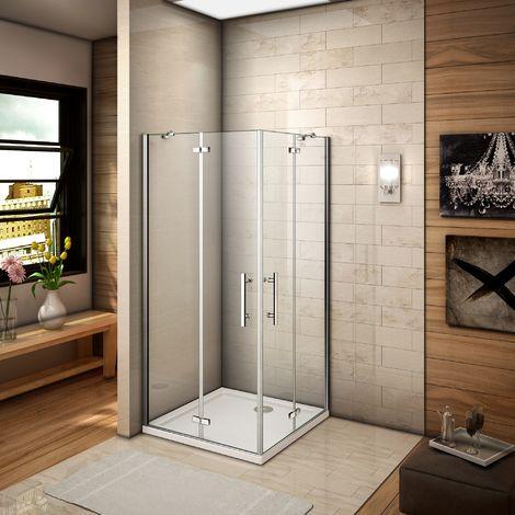 80x80x187cm cabine de douche à charniére porte de douche avec barre de fixation accès d'angle verre anticalcaire