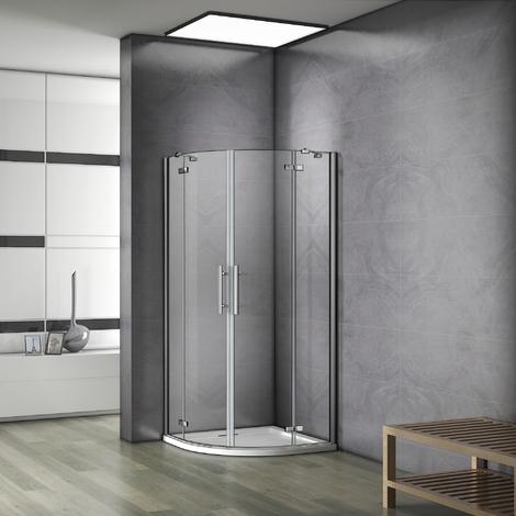 80x80x195cm cabine de douche à charnière accès d'angle 1/4rond avec paroi de douche et barre de fixation