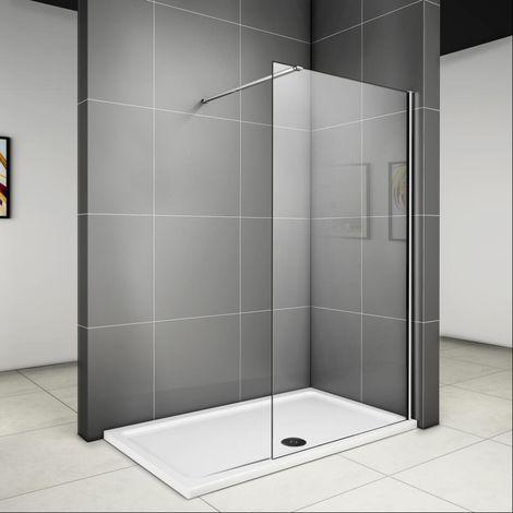 760x1950x6mm paroi de douche walk in verre anticalcaire avec barre fixation extensible