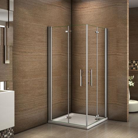 100x100x195cm cabine de douche à charniére porte de douche paroi de douche verre clair trempé sécurit