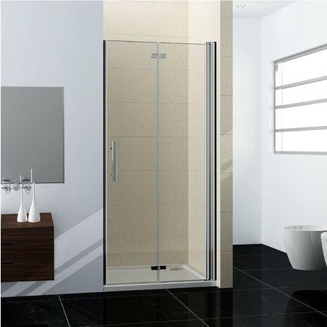 90x195cm porte de douche en niche porte de douche à charniére verre clair trempé sécurit