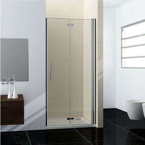 100x195cm porte de douche en niche porte de douche à charniére verre clair trempé sécurit
