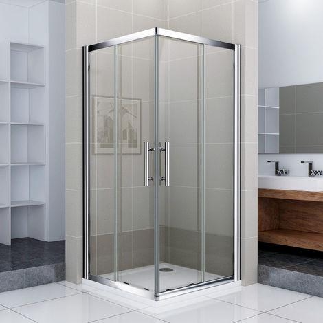 Porte de douche 70x70x187cm Porte coulissante Cabine de douche accès d'angle verre sécurit