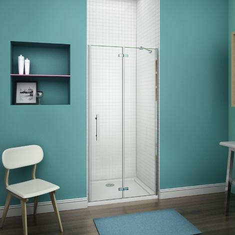 80x187cm cabine de douche à charnière porte de douche pivotante + un receveur de douche 80x80cm