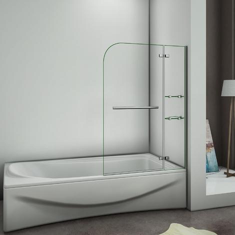 Pare baignoire 100x140cm verre anticalcaire   écran de baignoire avec les étages en verre securit