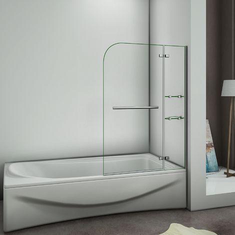 Pare baignoire 120x140cm verre anticalcaire écran de baignoire avec les étages en verre securit