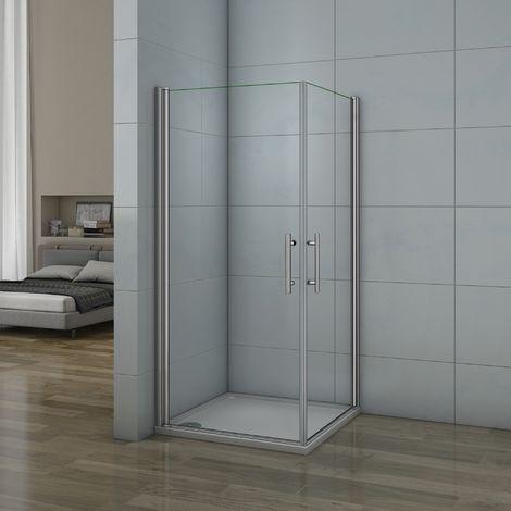 Porte de douche pivotante 100x70x187cm 2 portes de douche en verre anticalcaire cabine de douche pivotante