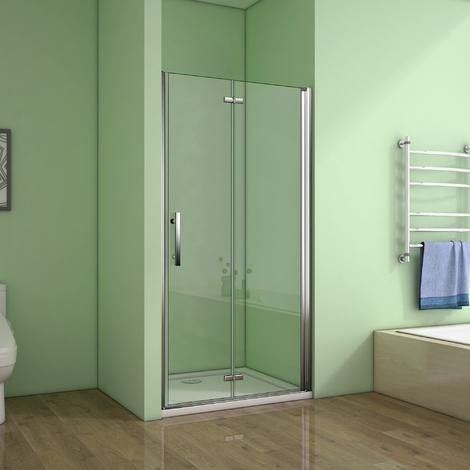 Porte de douche 70x195cm porte de douche pivotante et pliante verre anticalcaire