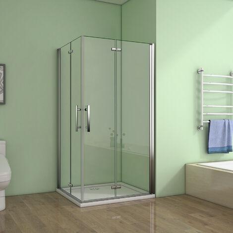 Cabine de douche100x90x185cm 2 portes de douche pivotante et pliante verre anticalcaire