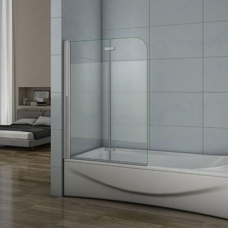 Pare baignoire 90x140cm verre anticalcaire et sablé au central écran de baignoire pivotant à 180degré