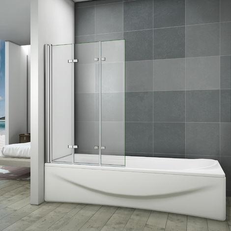 Pare baignoire 130x140cm 3 volets en verre anticalcaire écran de baignoire pivotant à 180degré