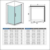 90x90x187cm Porte pivotante porte de douche paroi de douche cabine de douche avec barre de fixation 140cm verre anticalcaire