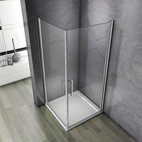 90x90x195cm Porte pivotante porte de douche paroi de douche cabine de douche verre anticalcaire