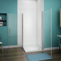 90x90x187cm Porte pivotante porte de douche paroi de douche cabine de douche verre anticalcaire