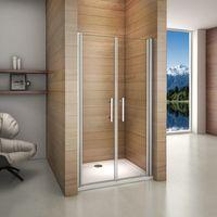 Porte de douche pivotante 76x195cm verre anticalcaire installation en niche