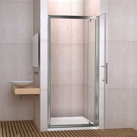 Porte de douche 76x185 cm porte pivotante installation en niche verre securit