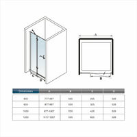 120x190cm porte de douche + un receveur de douche 120x80cm
