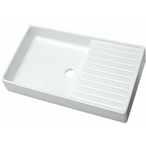 Evier d'appoint PUBLICA blanc égouttoir à droite 1 cuve 100 x 50 cm avec bandeau de 15cm