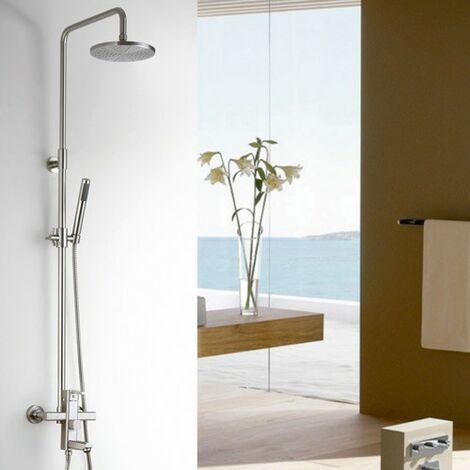 Colonne de douche mélangeur en nickel brossé avec bec de bain