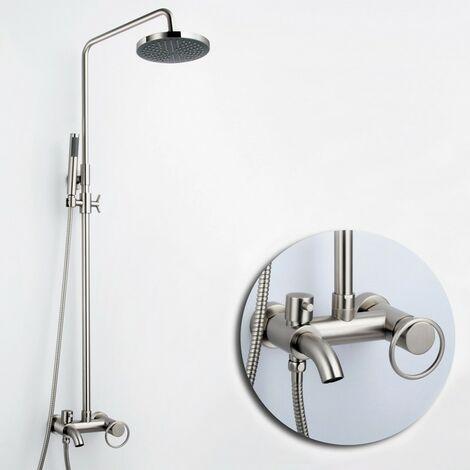 Colonne de douche traditionnel en nickel brossé