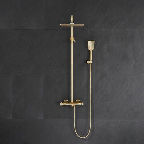 Colonne de douche et bain thermostatique - Doré brossé