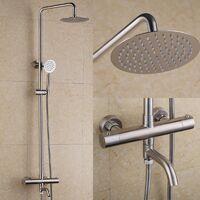 Colonne de douche thermostatique en acier inoxydable et nickel brossé avec bec de bain
