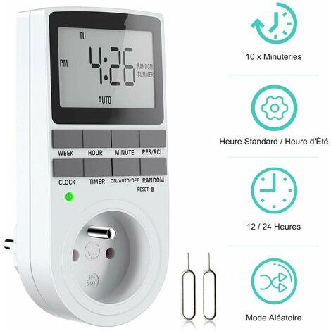 Prise Programmable Digitale, Minuterie Numérique Hebdomadaire avec Ecran LCD, Minuterie Prise Electrique 12H/24H/7Jours, Économie d'Energie Pour L'électroménagers et L'éclairage (1 Pack)