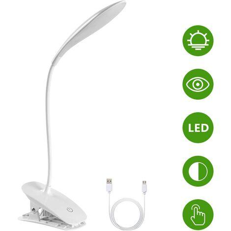 Lampe de Bureau à LED, Lampe de Lecture à Pince Rechargeable USB Câble, 3 Températures de Couleur et Luminosité Réglables pour Lit, Enfant, Lecture