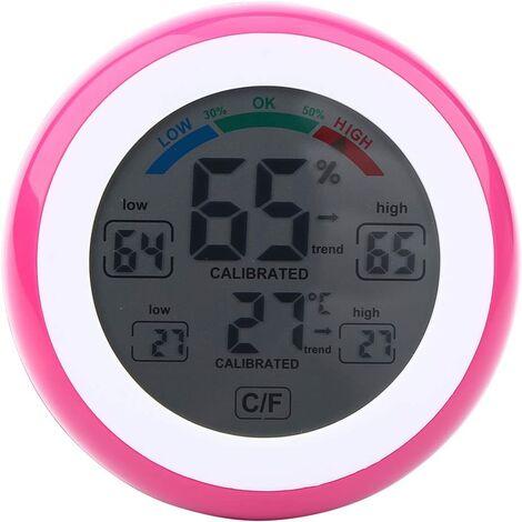Hygromètre Thermomètre numérique Affichage à Cristaux liquides Mesure de température et d'humidité électronique sans Fil ℃ / ℉ pour Maison Bureau(Rose)
