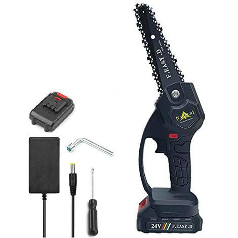 Mini scie à chaîne électrique 24V 12.7CM, mini tronçonneuse à main électrique avec 1 batteries, 1 charge