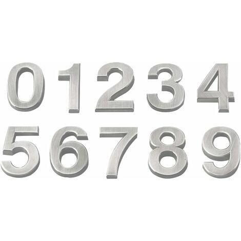 10pcs Nombre stéréoscopique Signe Moderne Plaque Numéro Maison Hôtel Porte Adresse Chiffres Plaque Autocollant Signe (0-9,1pcs pour Chaque Numéro 5cm Argent)