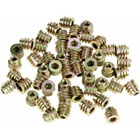 Écrous filetés, écrous à vis à six pans creux 50 pièces M4 * 8 mm Écrous d'insertion en alliage de zinc à tête hexagonale Écrous de meubles filetés pour insert en bois