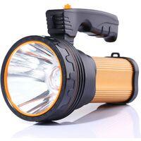Lampe Torche LED 7000 Lumens Rechargeable Étanche IPX4 Lampe Camping Portable 6000mAH Lampe Camping Projecteur Portable (Golden)