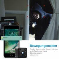 Mini caméra de surveillance I WiFi HD 1080P Mini caméra de surveillance Nanny Security avec détection de mouvement et vision nocturne infrarouge pour iPhone/Android Phone/iPad