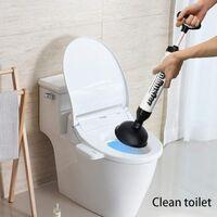 Puissant Déboucheur de Toilettes avec 2 Ventouses, Haute Pression en ABS pour Salle de Bain, Toilettes, Baignoire, Douche, Lavabo