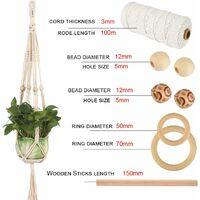 Corde en Macramé, 3mm x 100m Corde eCoton avec Perles en Bois, Anneaux en Bois, Bâtons en Bois pour Tricotage pour Hanging Plant DIY Décoration Marque : OIZEN