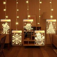 5 in 1 Rideau Lumineux 3D, USB cordes Guirlandes Lumineuses, Décoration Intérieur et Extérieur pour Fête Jardin Mariage Patio