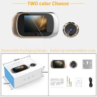 2.8 pouces LCD écran numérique sonnette 0.3MP IR Vision nocturne intelligente électronique porte judas caméra vidéo caméra visionneuse porte cloche Or